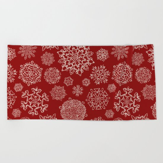 Merry Christmas- Abstract christmas snow star pattern on festive red I Beach Towel