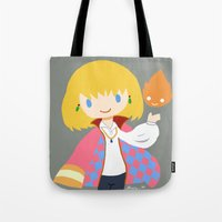 calcifer Tote Bags featuring Howl and Calcifer by Mayying