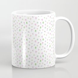 Pink Flowers and Green Leaves on White. Watercolor Floral Doodles Pattern Coffee Mug