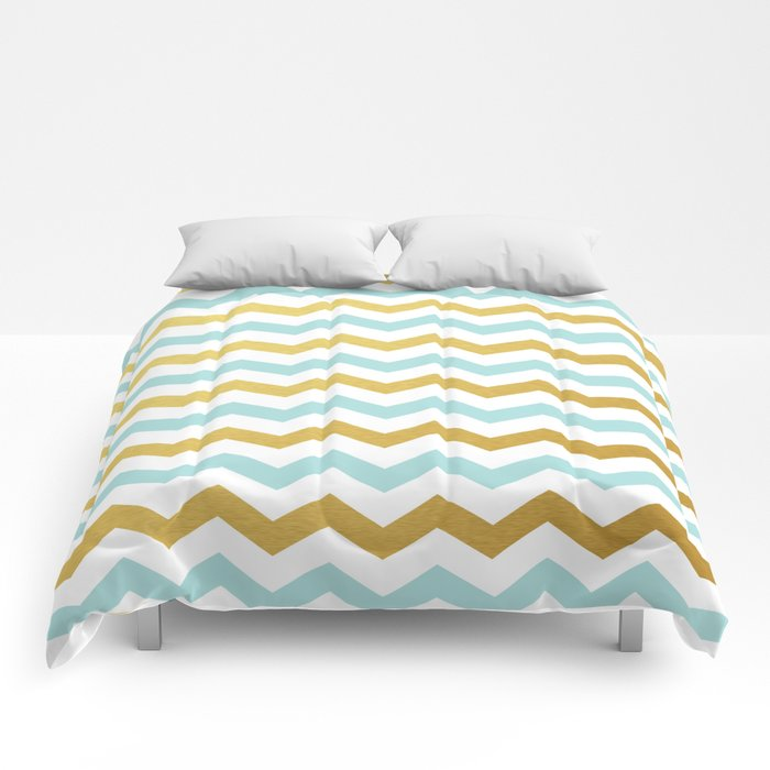 Tiffany Blue And Gold Chevron Pattern Comforters