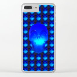 Blue Crystal Skull Clear iPhone Case