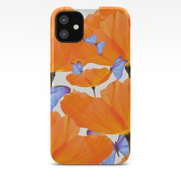 Poppies And Butterflies White Background #decor #society6 #buyart iPhone Case