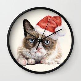 Grumpy Santa Cat Wall Clock