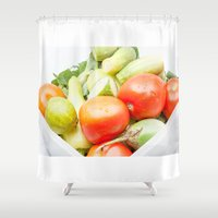 vegetables Shower Curtains featuring vegetables by Marcel Derweduwen