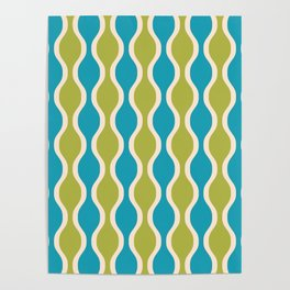 Classic Retro Ogee Pattern 852 Turquoise and Olive Poster