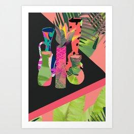 Jungle Pop! Retro Vases Art Print