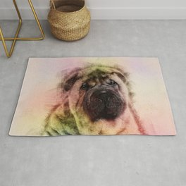 Shar-Pei puppy Sketch Digital Art Rug