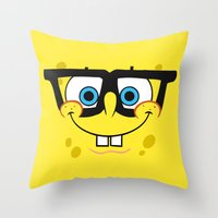 spongebob Throw Pillows featuring Spongebob Nerd Face by Cute Cute Cute