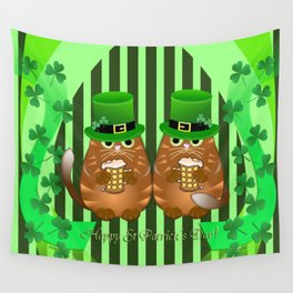 Sint Patrick's day cat with green top hat and drinking beer Wall Tapestry