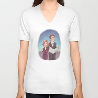 dana scully V-neck T-shirts featuring Mulder & Scully by Kaz Palladino