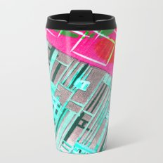 Abstract Woodcut #1 in Pink and Aqua Metal Travel Mug