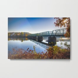 Autumn Morning View of the New Hope-Lambertville Bridge Metal Print