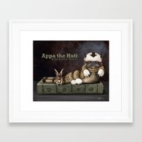 appa Framed Art Prints featuring Appa the Hutt and Salacious Momo by Cliff Roth