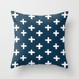 SWISS CROSSES - NAVY and WHITE Throw Pillow