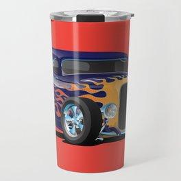 Vintage Hot Rod Car with Classic Flames Travel Mug