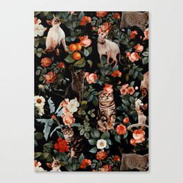 Cat and Floral Pattern II Canvas Print