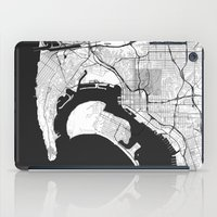 san diego iPad Cases featuring San Diego Map Gray by City Art Posters
