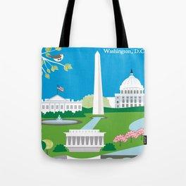 Washington, D.C. - Skyline Illustration by Loose Petals Tote Bag