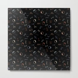 Ditzy Particle Physics on Black Metal Print