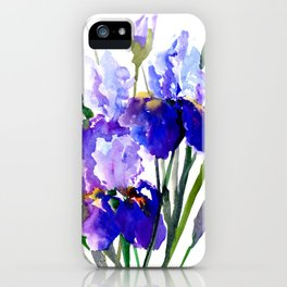 Garden Irises, Blue Purple Floral Design iPhone Case