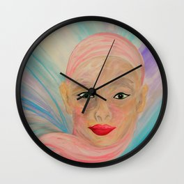Bald is Beauty with Green Eyes Wall Clock