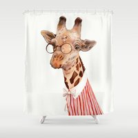 giraffe Shower Curtains featuring Giraffe by Animal Crew