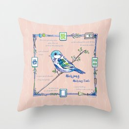 Lovely Sparrow - Mahjong Throw Pillow