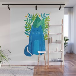 Cat and foliage - blue and green Wall Mural