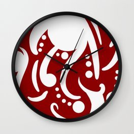 A Moderate Abstraction: Red and White Wall Clock