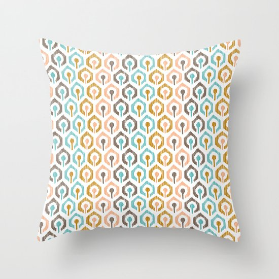 Honeycomb IKAT - Ivory Throw Pillow