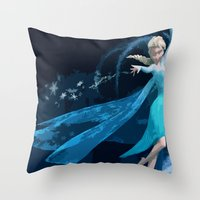 frozen elsa Throw Pillows featuring Elsa | Frozen by EcaJT