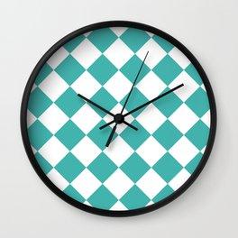 Large Diamonds - White and Verdigris Wall Clock