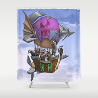 led zeppelin Shower Curtains featuring Badgers on a Zeppelin by Squeazl