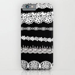 Black and white lace print iPhone Case