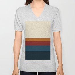 Retro Vibes Colorful Color Block Minimalist Stripes Pattern Unisex V-Neck