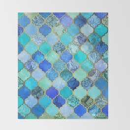Cobalt Blue, Aqua & Gold Decorative Moroccan Tile Pattern Throw Blanket