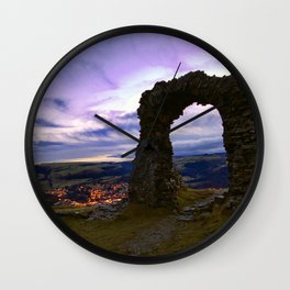 Town on the edge of forever Wall Clock