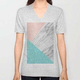 Real Italian Marble with Pink and Blue Unisex V-Neck