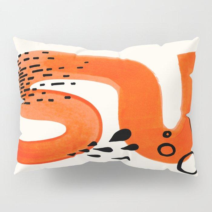 Mid Century Modern abstract Minimalist Fun Colorful Shapes Patterns Orange Brush Stroke Watercolor Pillow Sham