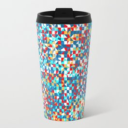 grid in red and blue Travel Mug