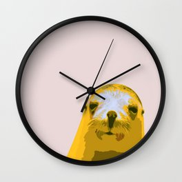 SEAL, HAPPY SEAL, SEAL FACE, Larhe pop art, curious seal, pop art animal, little seal, baby seal Wall Clock