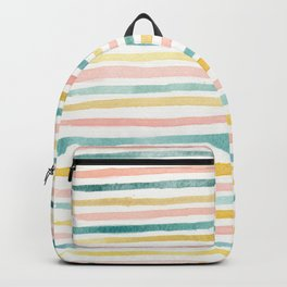 Pink, Teal, and Gold Stripes Backpack