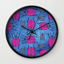 Pink Beetle Bugs Wall Clock