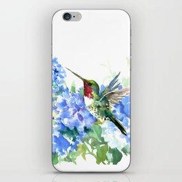 Hydrangea Flowers and Ruby Throat Hummingbird iPhone Skin