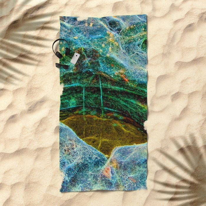 Abstract rocks with barnacles and rock pool Beach Towel
