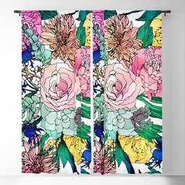 Stylish Colorful Watercolor Floral Pattern Blackout Curtain