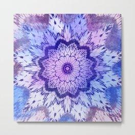 tie dye mandala in blue hues Metal Print
