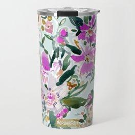 SWEPT AWAY Powder Blue Tropical Floral Travel Mug
