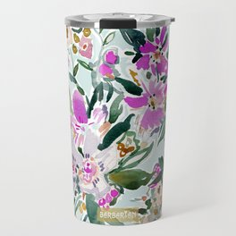 SWEPT AWAY Powder Blue Tropical Floral Travel Mug