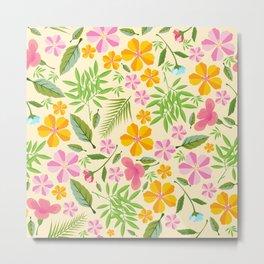 Abstract sunshine yellow pink tropical floral Metal Print